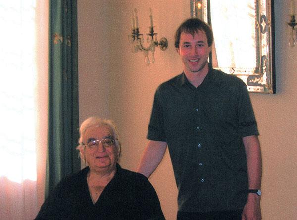 Maurice André und Michael Rösch an einem Meisterkurs 2002